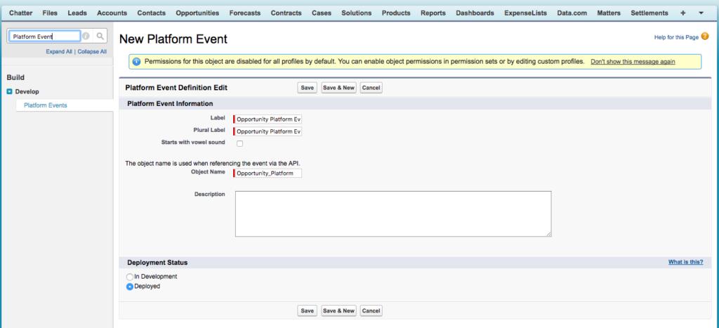 Create a new platform event